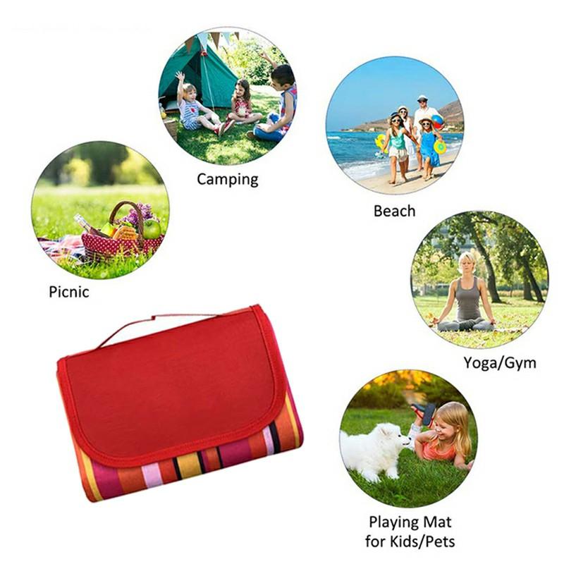 Waterproof Picnic Blanket Camping Mat Outdoor Beach Hiking Park Grass Travel Rug - Red