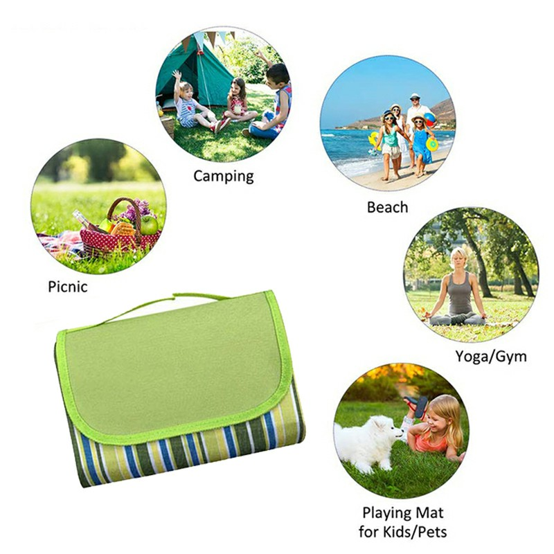 Waterproof Picnic Blanket Camping Mat Outdoor Beach Hiking Park Grass Travel Rug - Green