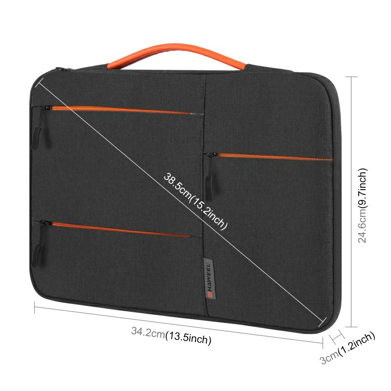 13 inch 360 Degree Protective Laptop Polyester Bag Compatible with 13 Inch Laptop - Black
