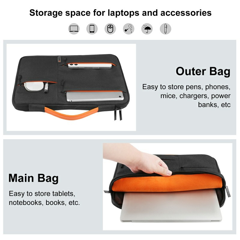 14 inch 360 Degree Protective Laptop Polyester Bag Compatible with 14 Inch Laptop - Black