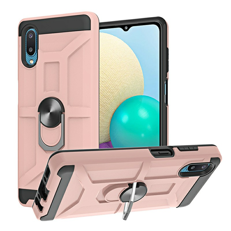 Dual Layer Ring Shockproof Armor Hard Case for Samsung Galaxy A02/M02 - Rose Gold