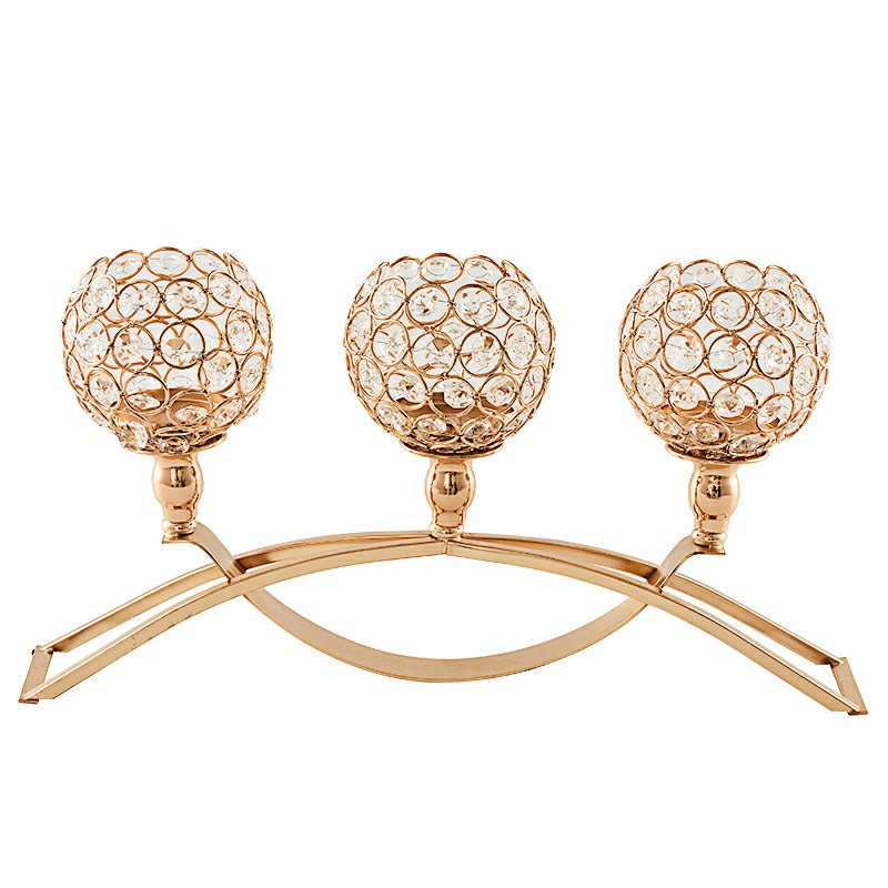 Three Crystal Candlestick Wedding Holiday Plot People Gift Decoration - Gold