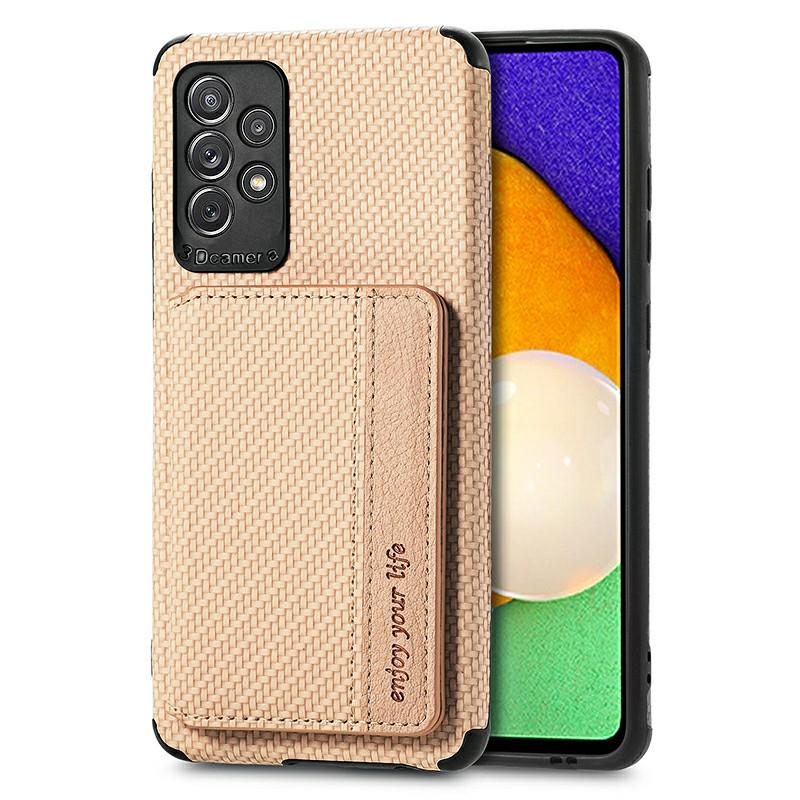 TPU Back Phone Case with Card Slot for Samsung Galaxy A72 5G - Khaki