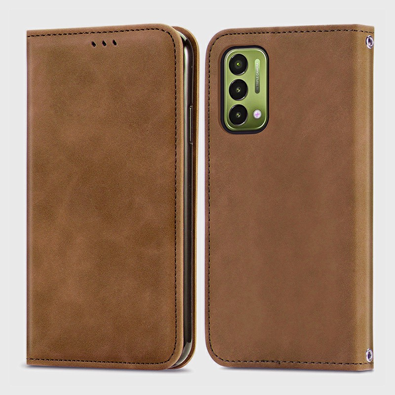 Magnetic PU Leather Wallet Case Cover for OnePlus Nord N200 5G - Brown