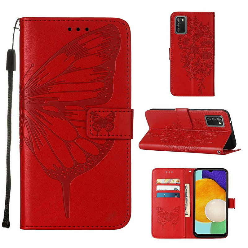 PU Leather Folio Stand Cover Case for Samsung Galaxy A03S - Red
