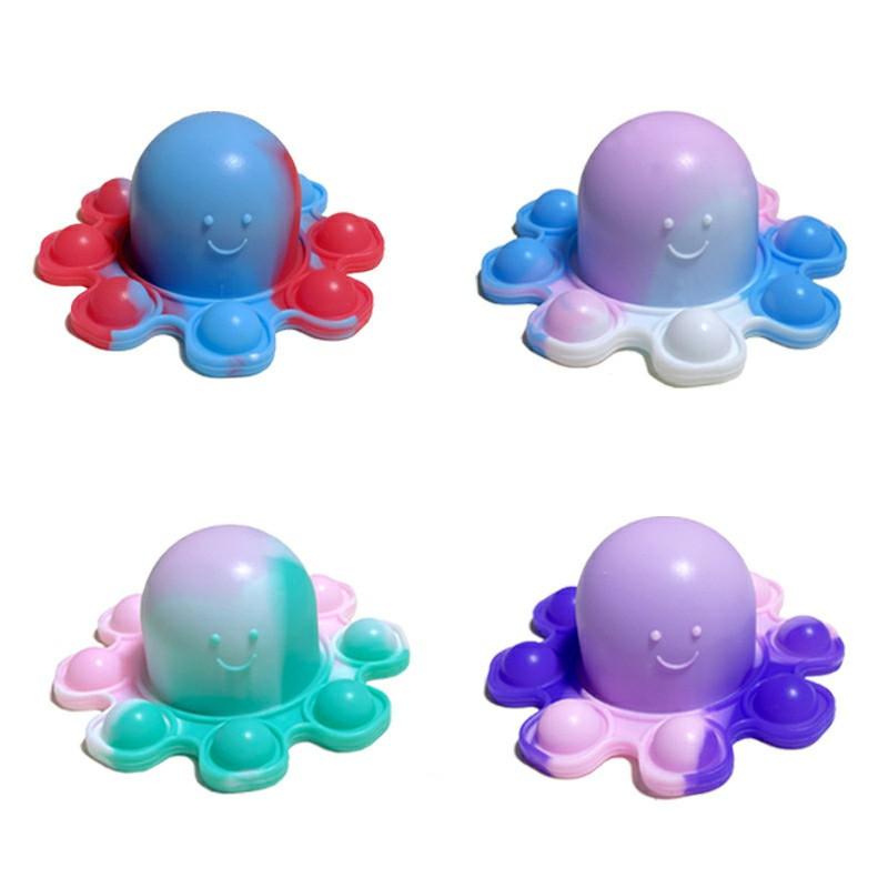Mini Pressure Flip Octopus Pendant Silicone Finger Practice Keychain - Red + Blue