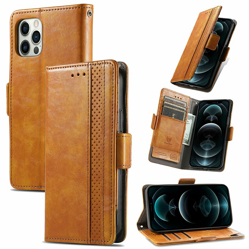 Magnetic PU Leather Flip Stand Card Phone Case for iPhone 12/12 Pro - Khaki