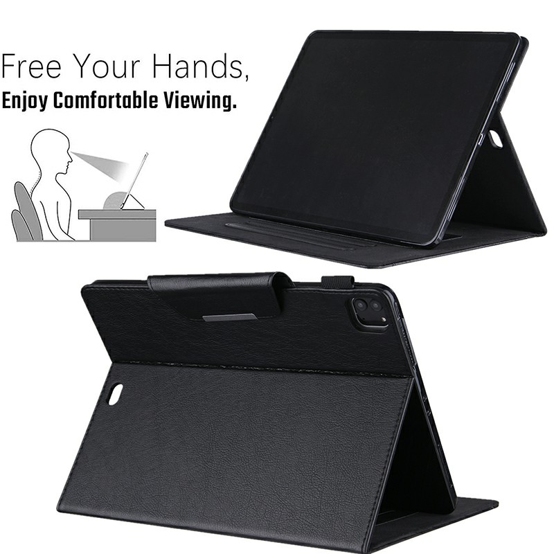 PU Leather Case Flip Stand Protective Cover for iPad Pro 12.9 2021 2020 2018 - Black