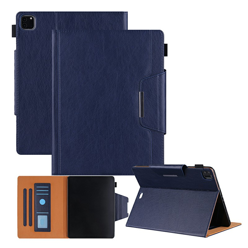 PU Leather Case Flip Stand Protective Cover for iPad Pro 12.9 2021 2020 2018 - Blue