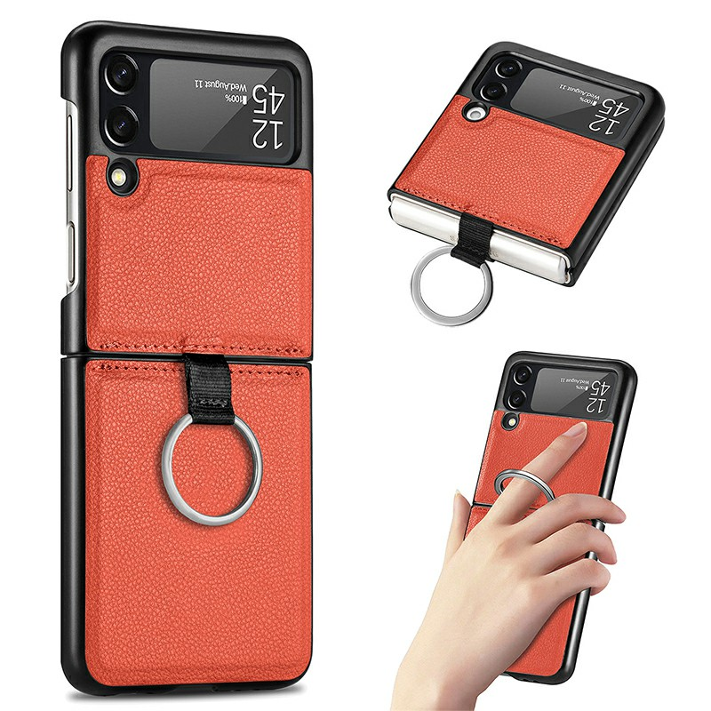 Fashion PU Leather Wallet Case Cover with Ring for Samsung Galaxy Z Flip 3 5G - Orange