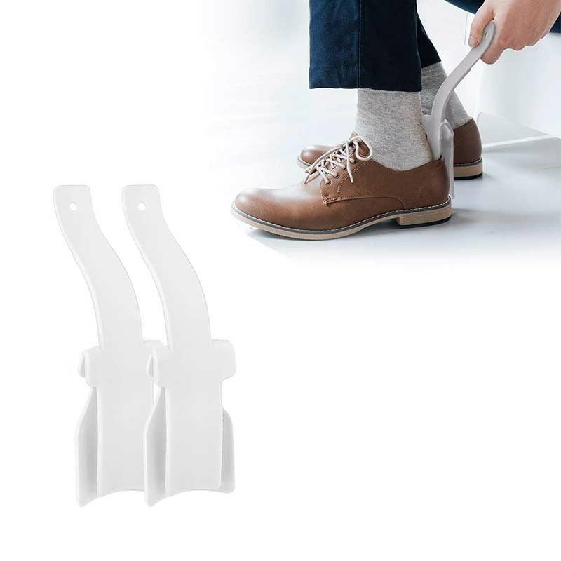1 Pair Shoe Helper Handled Plastic Lazy Shoe Horn Easy on and Off Shoes Lifting Helper - White