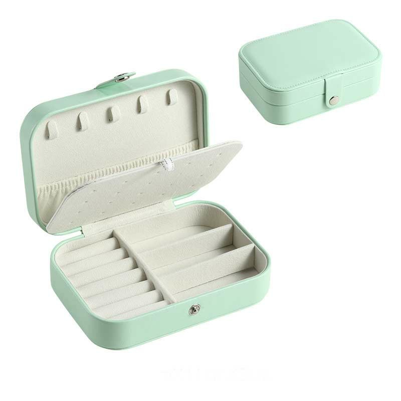 Mini Small Organizer Portable Display Storage Case for Women Earrings Rings Leather Jewelry Box - Green