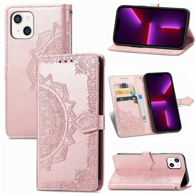 PU Leather Embossed Mandala Wallet Card Case for iPhone 13 Mini - Rose Gold