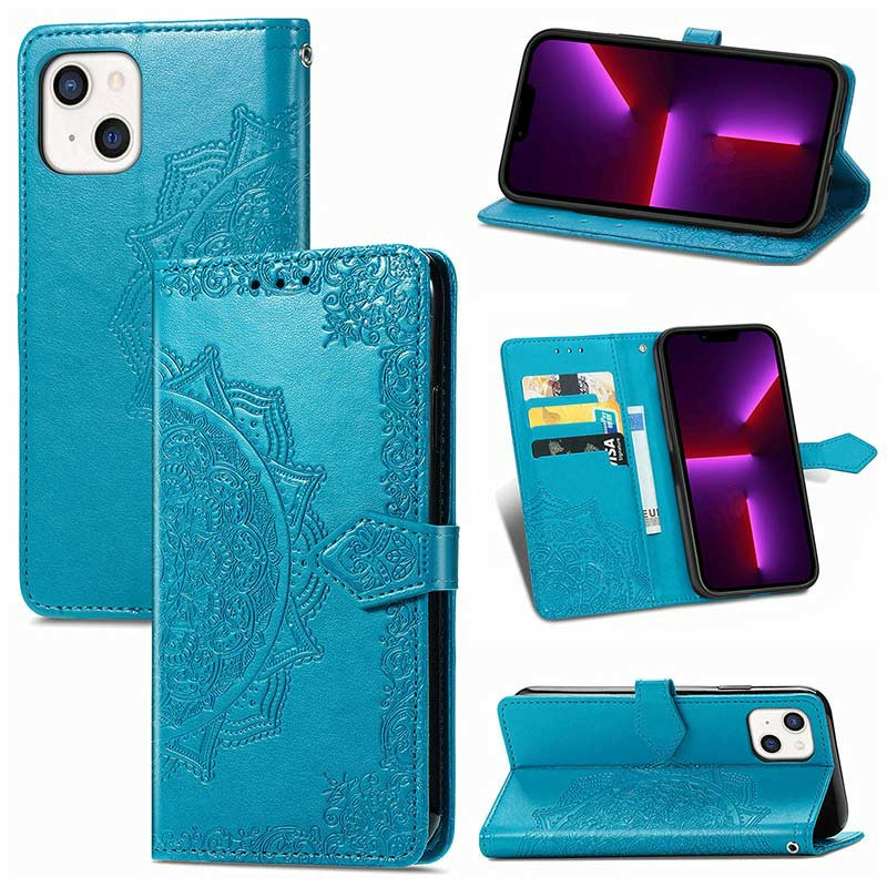 PU Leather Embossed Mandala Wallet Card Case for iPhone 13 - Blue