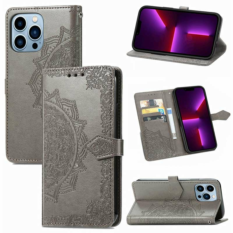 PU Leather Embossed Mandala Wallet Card Case for iPhone 13 Pro - Grey