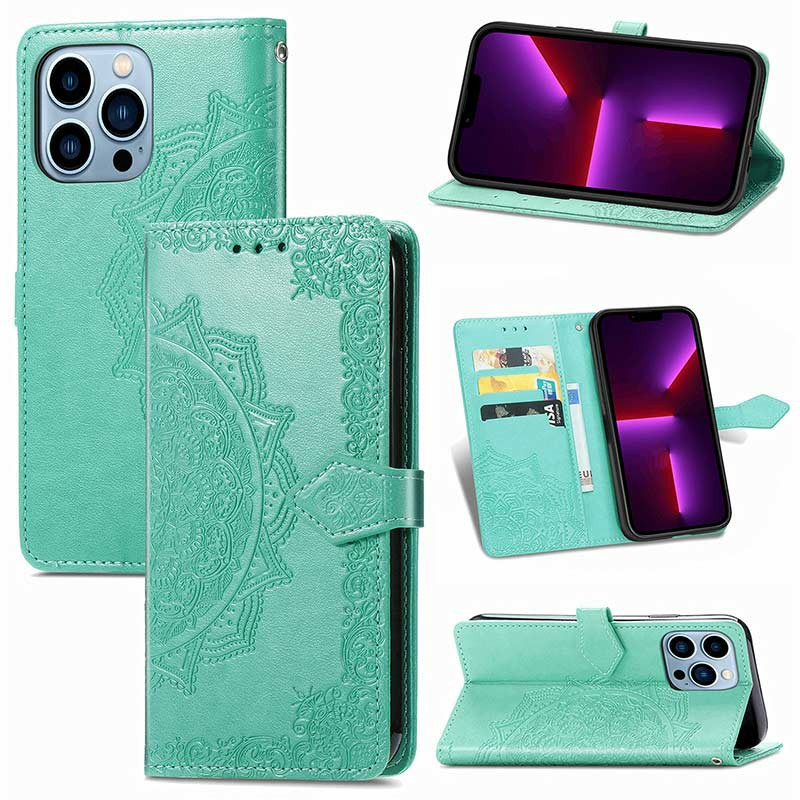 PU Leather Embossed Mandala Wallet Card Case for iPhone 13 Pro Max - Green