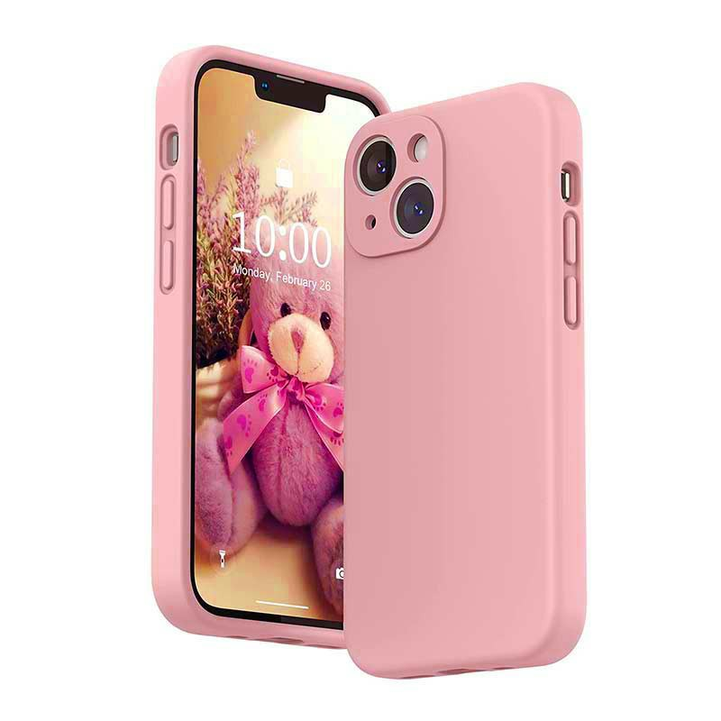 Soft Silicone Gel Rubber Shockproof Cover Case for iPhone 13 - Pink