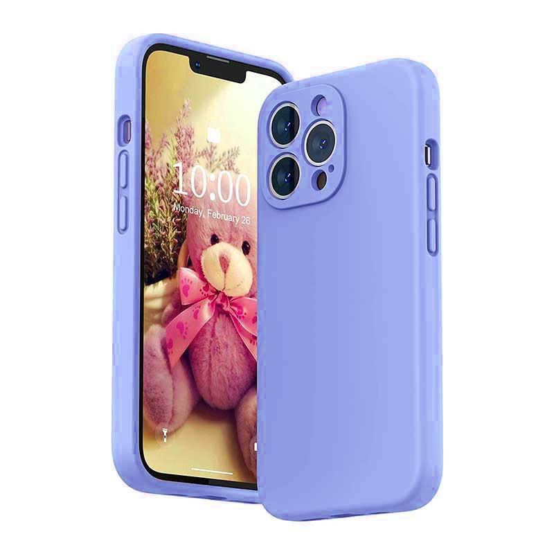 Soft Silicone Gel Rubber Shockproof Cover Case for iPhone 13 Pro - Purple